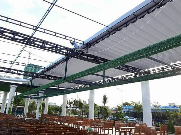 báo giá thiết kế lắp đặt mái che di động sân thể thao, mái xếp bạt kéo lượn sóng sân thể thao