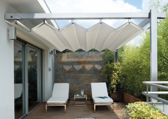 báo giá thiết kế lắp đặt mái che di động sân thượng, mái xếp bạt kéo lượn sóng sân thượng