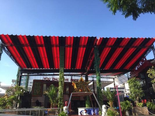 báo giá thiết kế lắp đặt mái che di động quán cafe, mái xếp bạt kéo lượn sóng quán cafe