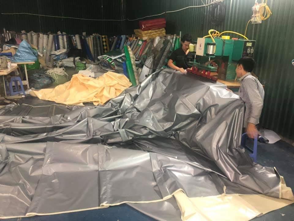 nhà máy chuyên may ép vải bạt mái hiên mái xếp, may bạt gia công mái che di động giá sĩ