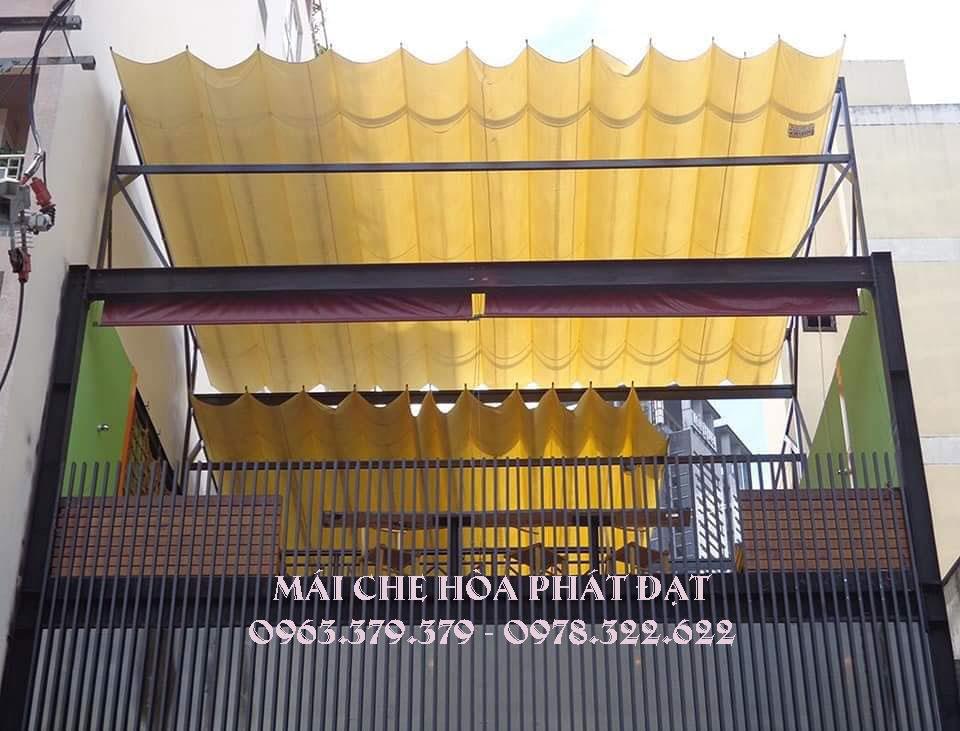 hình ảnh : lắp đặt mái bạt xếp bạt kéo lượn sóng di động hòa phát đạt